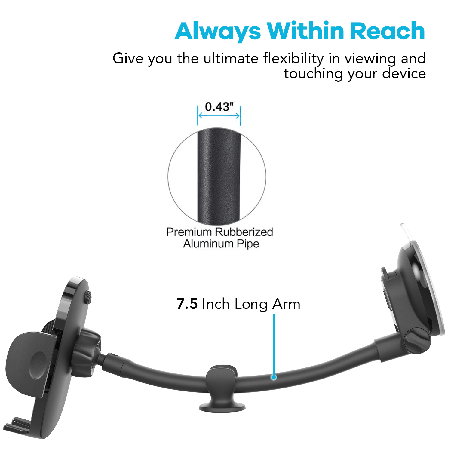 Phone Accessories 360 Degree Rotation Long Arm Gooseneck Car Mount Suction Cup Cell Mobile Phone Holder