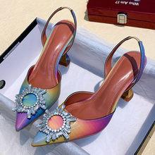 Роскошная женская обувь; Босоножки на высоком каблуке; Разноцветная кожаная обувь с острым носком на высоком каблуке; Большой размер 42; Женс...(Китай)
