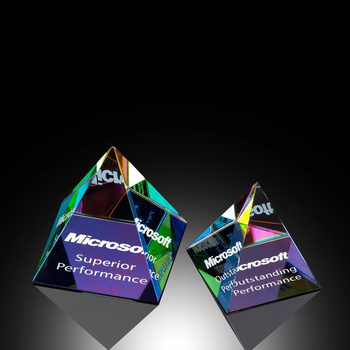 60mm size Factory price crystal glass pyramid paperweight with logo engraved on the bottom