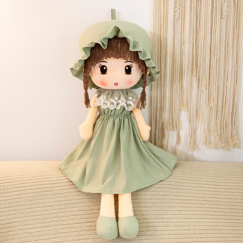 45cm Lovely Stuffed Pretty Real Girl <strong>Doll</strong> With Cap Wholesale