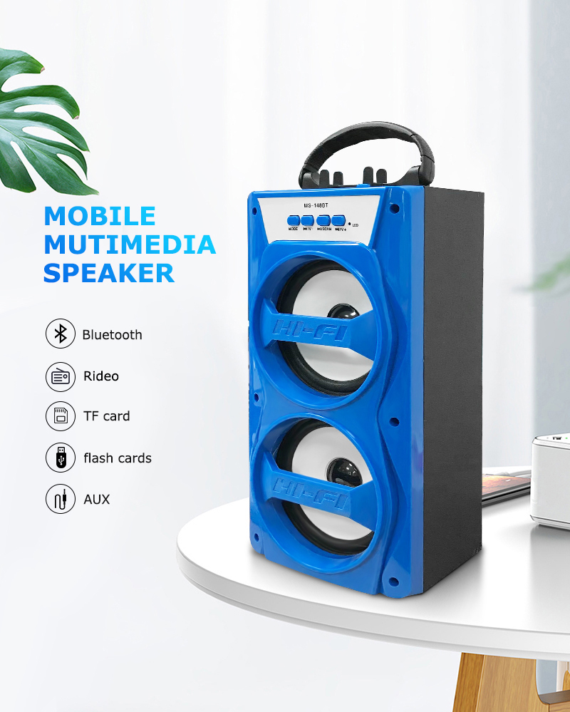 Plastic parlantes boutdoor/luetooth/Trolley Bluetooth Speakers draadloze 4inch trolley luidspreker met doos