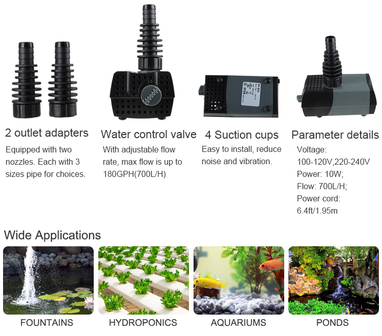Heto 184GPH Submersible Pump(700L/H, 10W), Quiet Water Pump with 4.3ft High Lift, Fountain Pump with 6ft Power Cord, 2 Nozzles