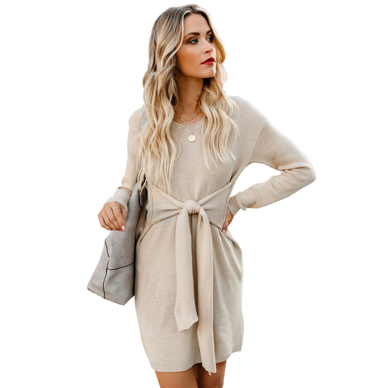 2019 Hiver À Manches Longues V Cou Cravate Unie Robe Femmes Robes Pull