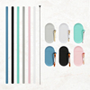 Wholesale Eco Friendly Reusable Silicone Drinking Multicolor Straws With Brush And Case
