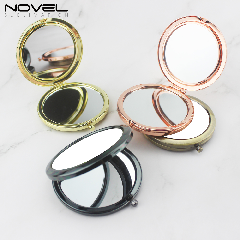 New Personality Designs Printing Blank Stainless Steel Pocket Makeup Mirror
