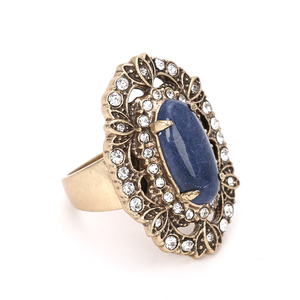 12k gold ox plating blue quartz stone vintage ring women jewelry large rings
