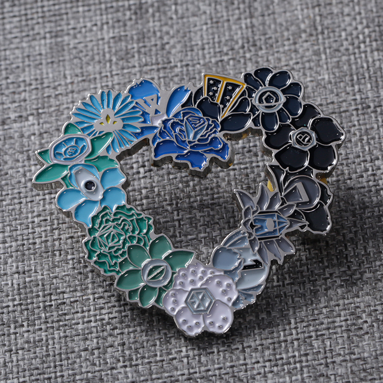 Shuanghua custom soft enamel metal flower lapel pin