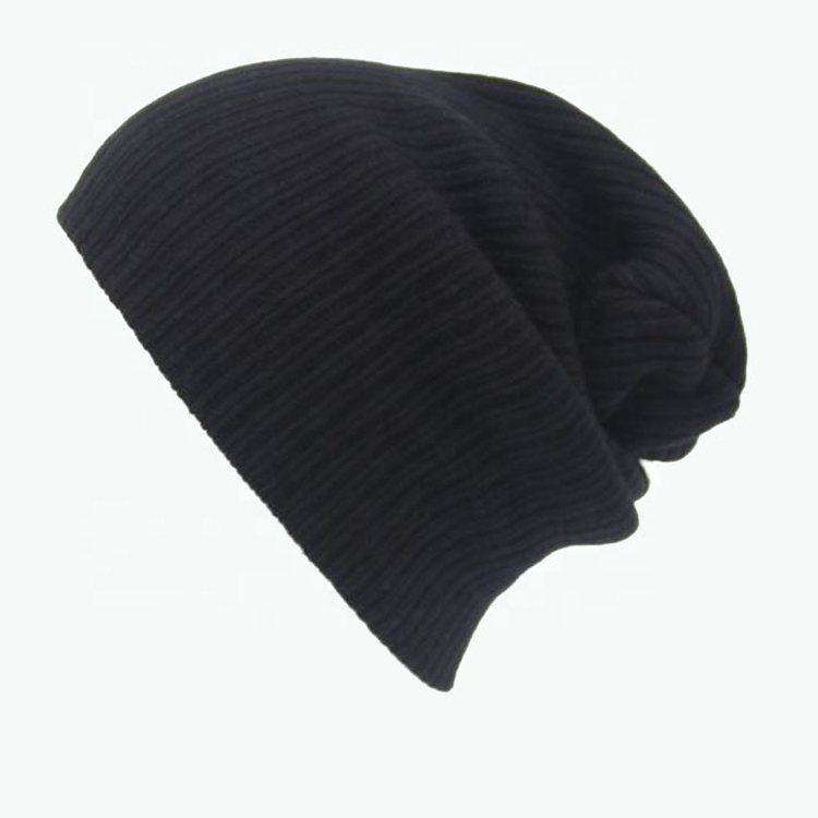 Hot sell quality custom caps beanies winter hat men slouch down black beanie