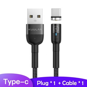 KUULAA OEM Mobile Phone Fast Charging 3M Braided Micro USB 2.4A Type C Cable Magnetic Micro Usb Cable For iPhone