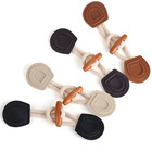 OEM fabric wood toggle button with pu leather for garment