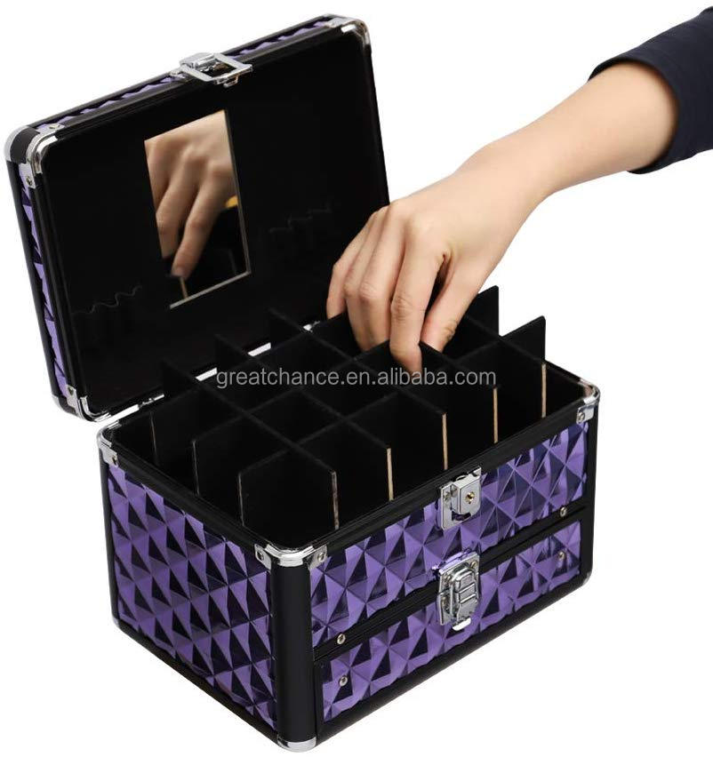 Portable Small Lockable Vanity Case Jewellery Box- Makeup case Nail Polish Beauty Case Cosmetic Accessories Storage Case-Diamond