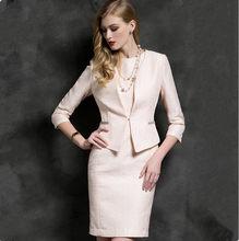 Женский офисный костюм, розовый пиджак, деловая одежда для работы, платье-карандаш, элегантный наряд-униформа из двух предметов(Китай)