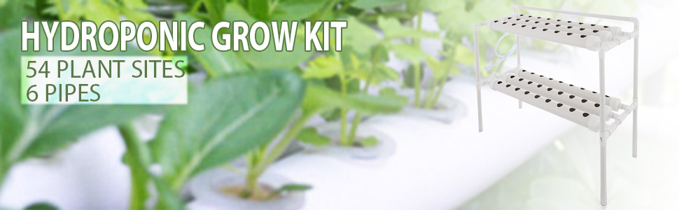 Hydroponic Grow Kit 6 Pipes 2 Layers 54 Plant Sites Food Grade System Melons