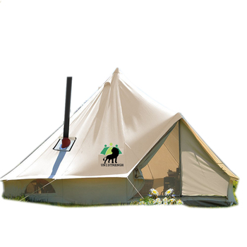 4-Season Waterproof Cotton Canvas Large Family Camp Beige Color Bell Tent Hunting Wall Tent with Roof Stove Jack Hole