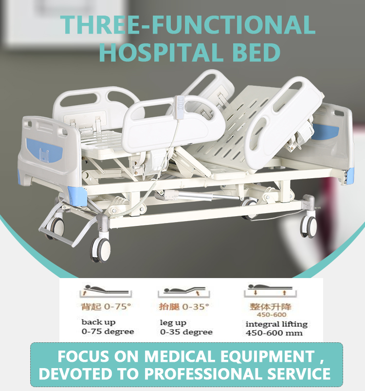 Hospital Furniture Medical Three Function Electric Hospital Bed For Sale
