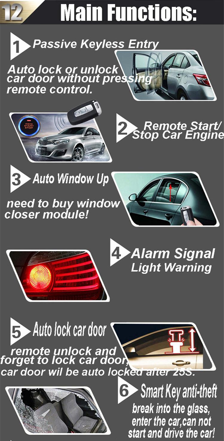 Cardot รถ Keyless Entry PUSH ปุ่มเครื่องยนต์รถยนต์ Auto REMOTE Start STOP