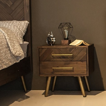 Solid wooden hardware nightstand traditional style bed side cabinet chest of 2 drawer top sales best quality bedside table