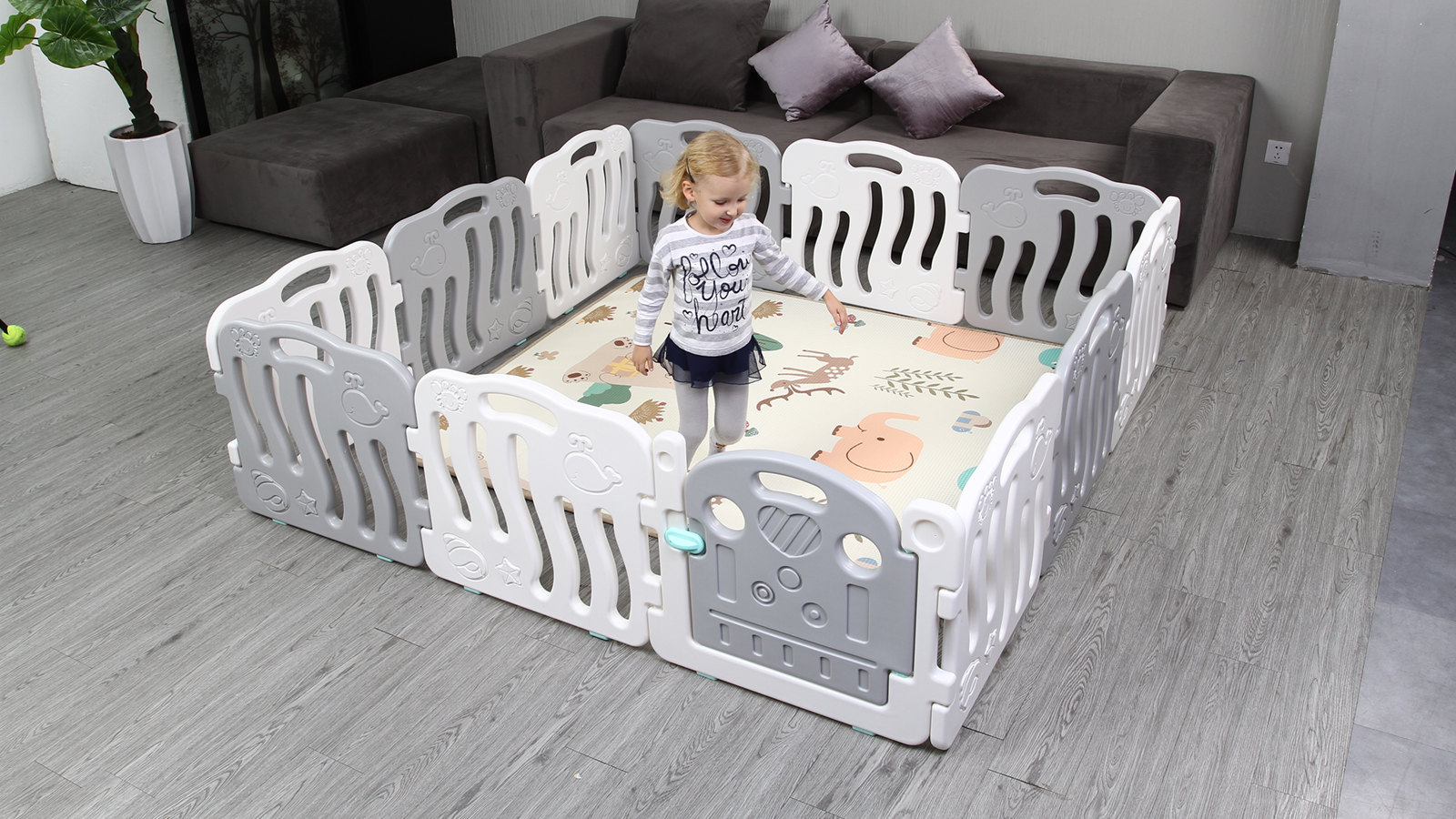 White and Grey Color Baby Plastic Playpens Play Mat Fence for Kids