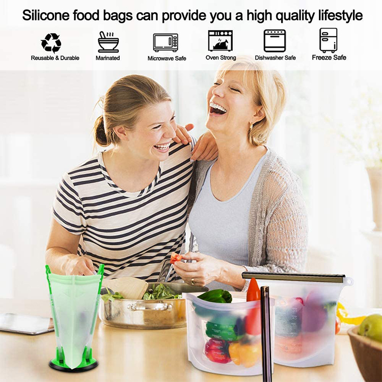 Amazon Hot Eco Friendly Ziplock Leakproof Snack Reusable Silicone Food Storage Bag