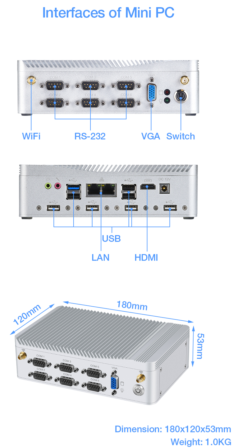 Intel Celeron J1900 Fanless Rugged Embedded Industrial PC With 6 COM 8 USB Dual Lan VGA Mini ITX PC Win10 Barebone System Nettop