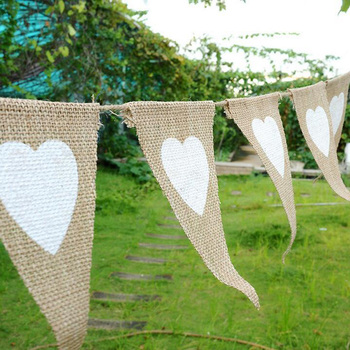 GUESS Flags Jute Fabric Bunting Banner White Heart Lace 2.8m Vintage Wedding Party Burlap Banners Rustic Wedding Decoration