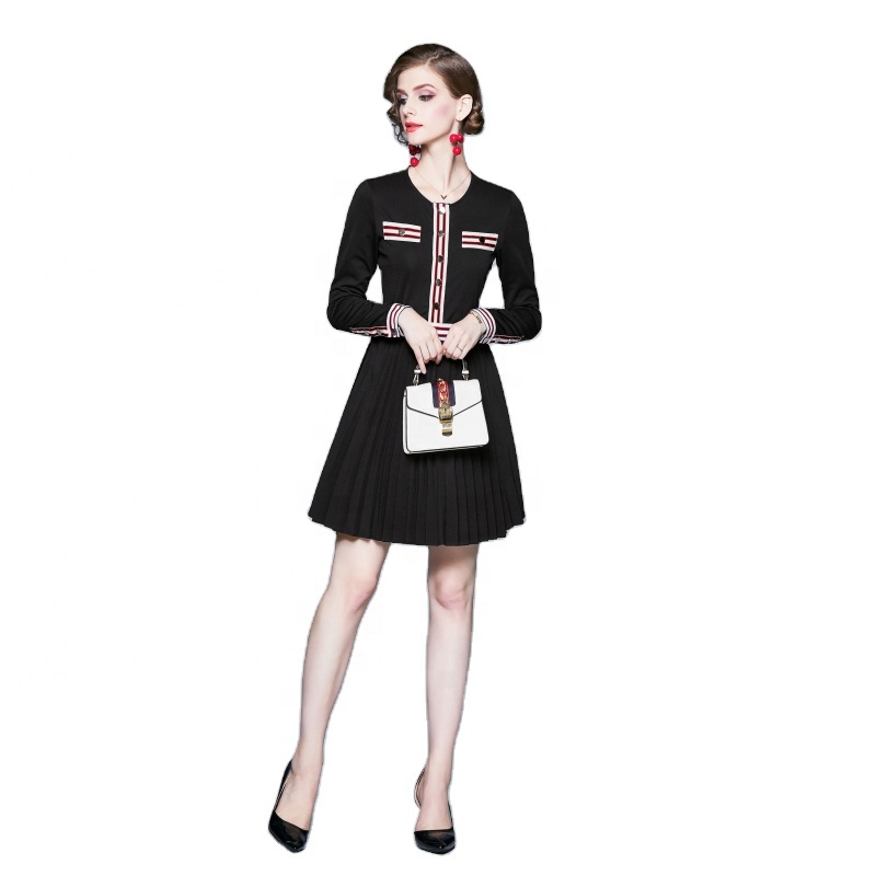 2020 NEW Hot sale high-quality Autumn and summer Daily appointment Long sleeves Pleated skirt Office women cocktail dresses
