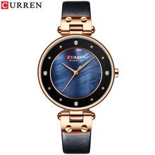 CURREN простые очаровательные женские часы со стразами, кварцевые часы с кожаным ремешком, женские наручные часы, женские часы(Китай)