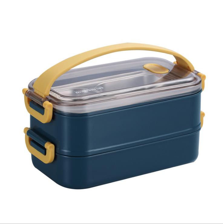 Большой контейнер для хранения еды из нержавеющей стали, набор из 3 герметичных многоразовых контейнеров Bento lunch box с герметичными крышками