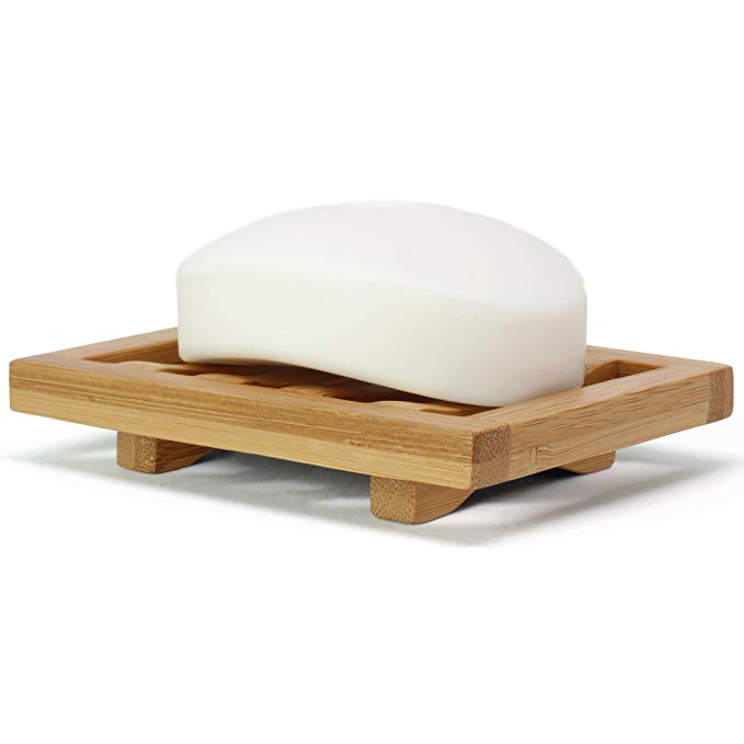 Bamboo Soap dish perfectly with any space in your home or office: bathtub,shower & kitchen or bathroom countertops.