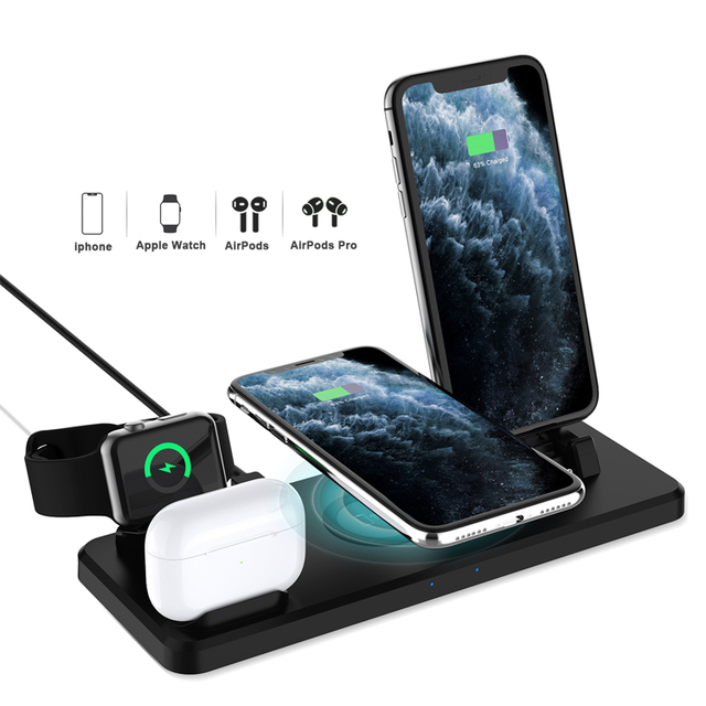 Low price unique create 2020 US 6 in1 Qi Fast Wireless Charging Dock Stand Station for Cell Phone Android phones mobile