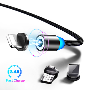 2020 new Flexible luminescent auto disconnect transfer led 90 degree micro usb cable  3 in 1 magnetic usb charging cable