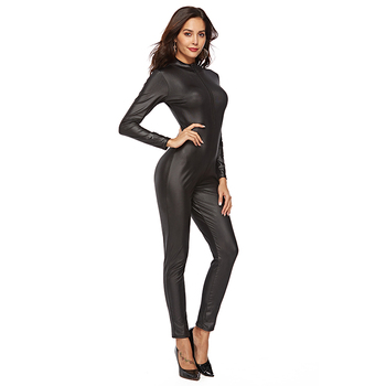 Fashion Sexy Women Leather Bodysuit full body Ladies zipper up Jumpsuit Party Clubwear black catsuit for night club