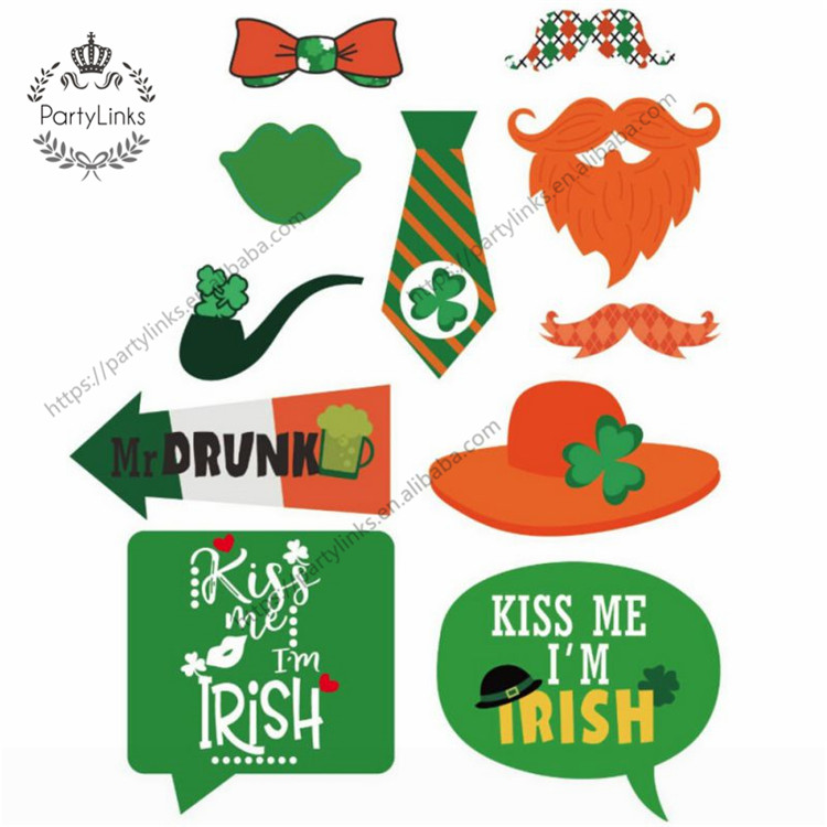 St Patrick's Photo Booth Props , Attached, No DIY Required, Party Decorations Photo Booth Props Irish Day Mustaches