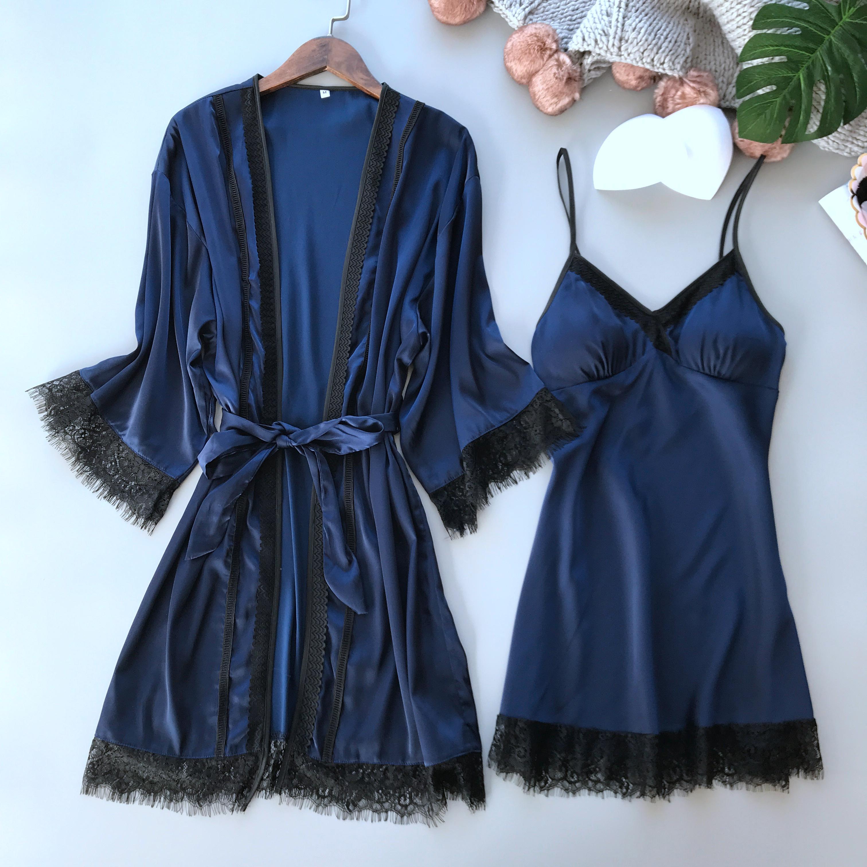 2019 kadınlar seksi romantik pijama ipeksi kimono bornoz ipek gelin uzun elbise kollu boyundan bağlamalı elbise ile meme ped