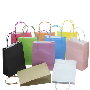 China gold supplier wholesale customized shopping bag colored paper rope handle kraft paper bag
