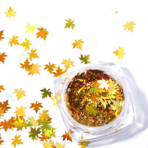 2020 Autumn Maple Gold Holographic Glitter Flakes Nail Sequins Palette Iridescent Multicolor Leaf Sheet Manicure Nail Art Decor