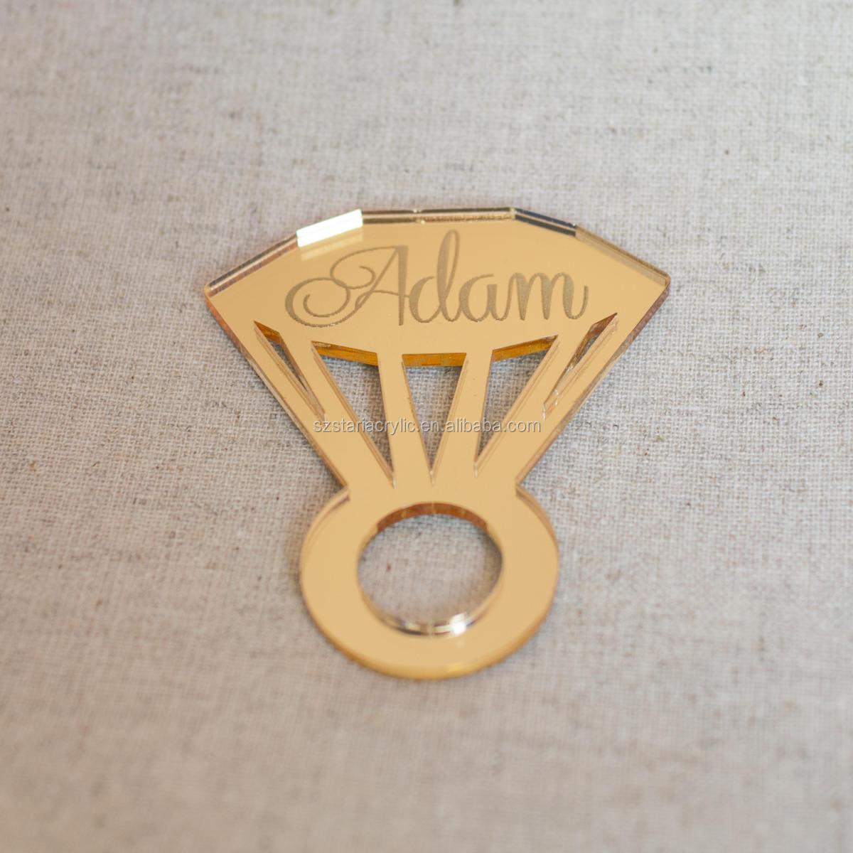 Diamond Shaped Mirror Acrylic Napkin Ring Personalized Engraving Name