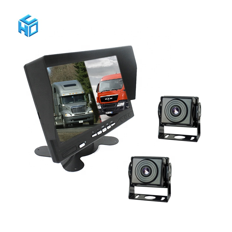 AHD vrachtwagen voertuig 7 inch monitor opname blackbox 1080p 4 camera dvr black box recorder truck camera systeem 4 pin