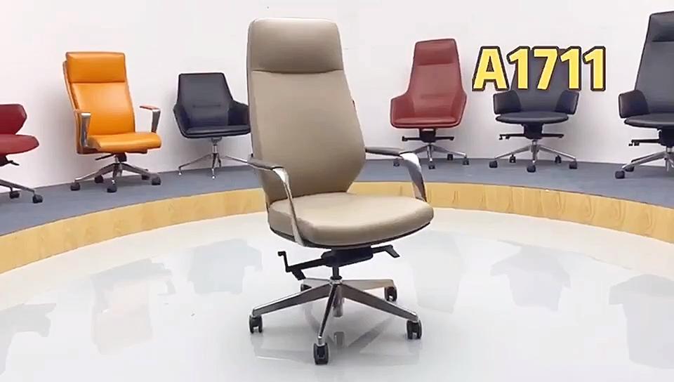 Kantor Furniture Modern PU Kulit Hitam Tinggi Kembali Swivel Executive Bos CEO Kursi Grosir