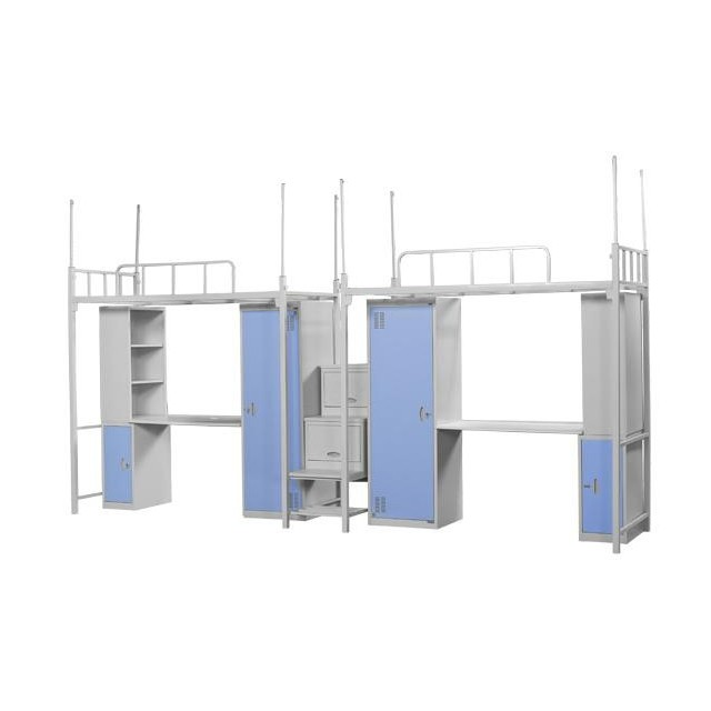 Steel hotel apartment student and staff dormitory bunk bed furniture set with wardrobe lockers and desk