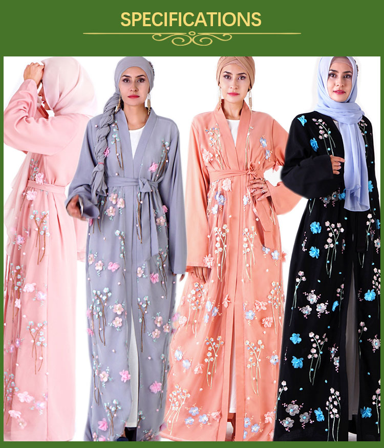 2019 latest design 3D Flower open Embroidered elegant boutique islamic clothing abaya kimono