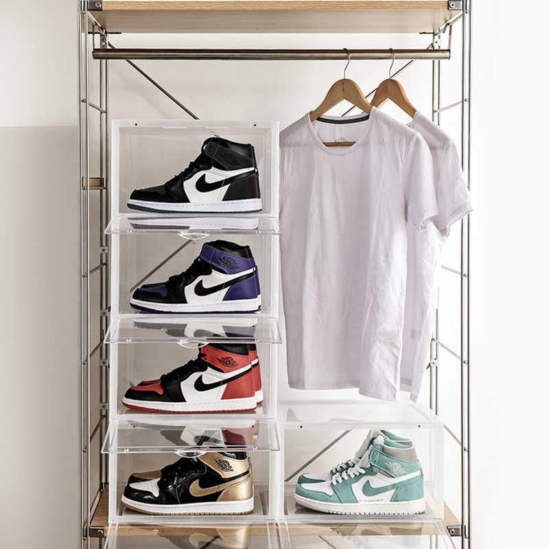 Drop Front Clear Shoe Storage Box Acrylic Shoe Box Transparent stackable storage box for sneakers display CPSIA approved