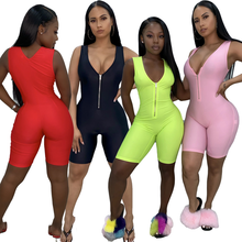 2020 frauen fitness Playsuits sleeveless zipper fly patchwork body sporting dünne outfits overall
