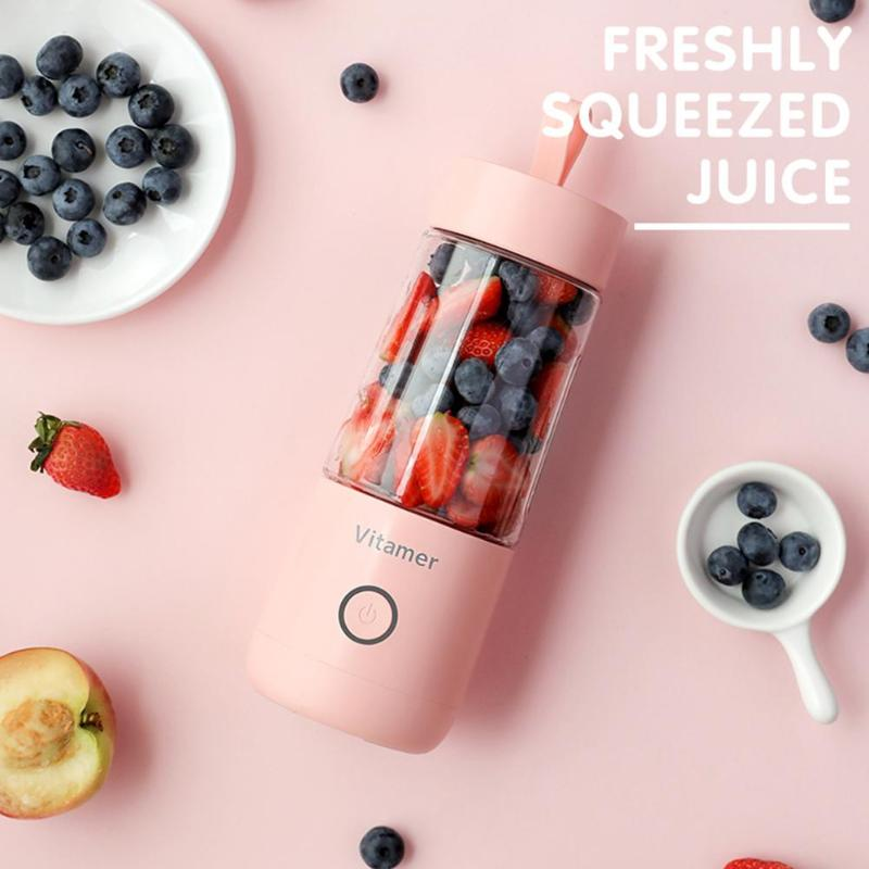 OEM logo 350ml Mini Portable Electric Fruit Juicer USB Rechargeable Smoothie Maker Blender Sports Bottle Juicing Cup,RK-W21