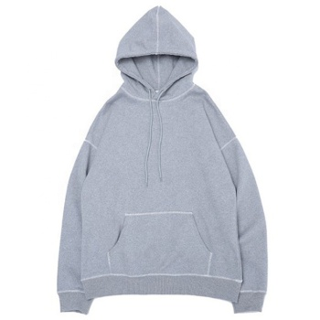 Factory bulk wholesale blank grey organic cotton men hoodies for autumn