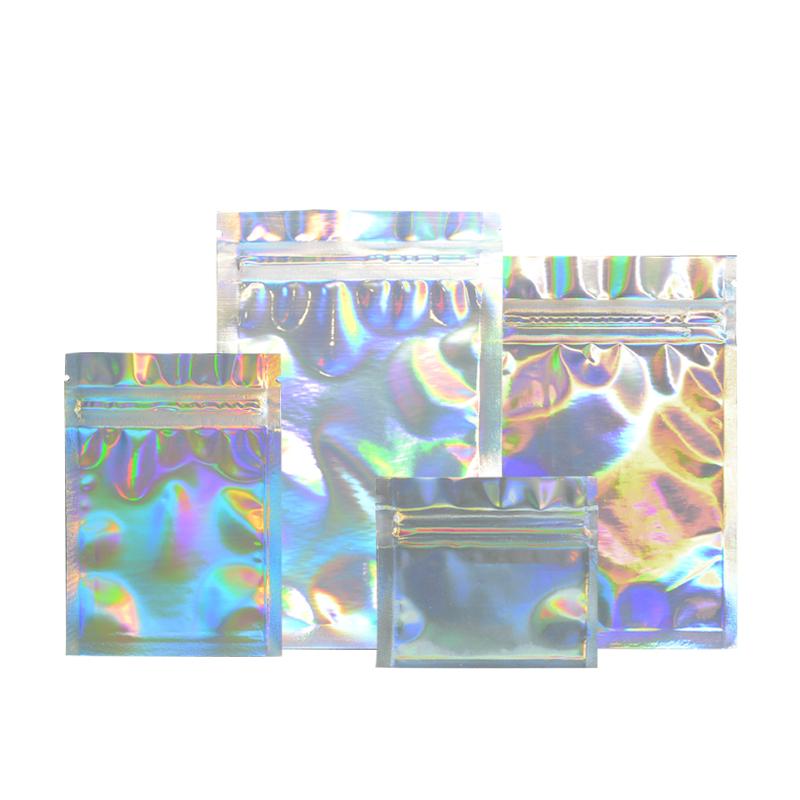 Nach Wiederverschließbaren Zipper Laser Holographische Kosmetische Aluminium Folie Mylar Taschen Holographischen Beutel Für Lidschatten Verpackung Beutel