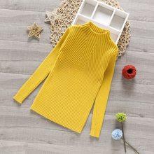 Осень 2019, новый пуловер для девочек, с высоким воротником, вязаные нижние платья, свитера с круглым вырезом для девочек и Linesweaters(Китай)