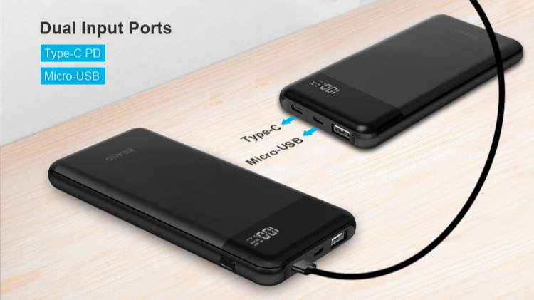Unique Power Bank 10000 mAh PD 3.0 18W 10000mAh Dual USB Speed Quick Charge  with Digital Display