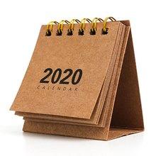 Новый год 2020 мини настольный календарь креативный простой стол блокнот на кольце крафт-бумага календарь ежедневный график годовой Органай...(Китай)