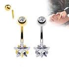 2020 The Latest Design Star CZ Prong Set and Gem Set in Ball 316L Surgical Steel 16G Belly Button Navel Ring